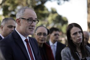 Phil Twyford and Jacinda Ardern at the announcement.