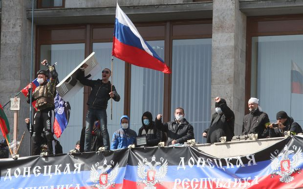 Pro-Russian activists seized the main administration building in Donetsk.
