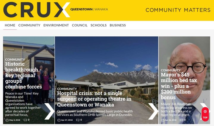 Crux.org.nz - the Queenstown homepage of the new non-profit local news website.