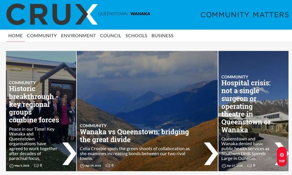 The Wanaka homepage of the Crux site.