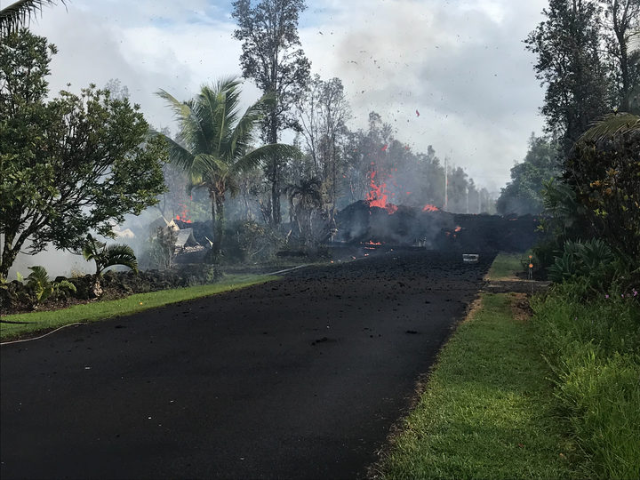 Fissures in the roads following Mount Kilauea eruption