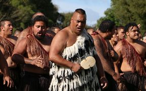 A group performs a haka for King Tuheitia at Turangawaewae Marae.