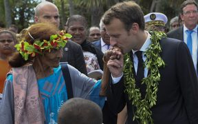 French President Emmanuel Macron meets locals in New Caledonia