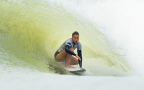 New Zealand surfer Paige Hareb sits in a tube during the inaugural Founders Cup.