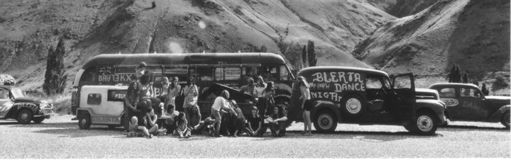 The BLERTA bus and entourage on the West coast of the South Island during the summer of 1971-1972