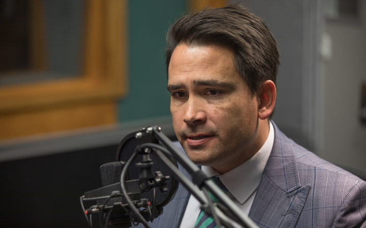 Simon Bridges in the RNZ Auckland studio for an interview on Morning Report.