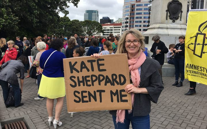 Leah McFall during the Women's March in Wellington.