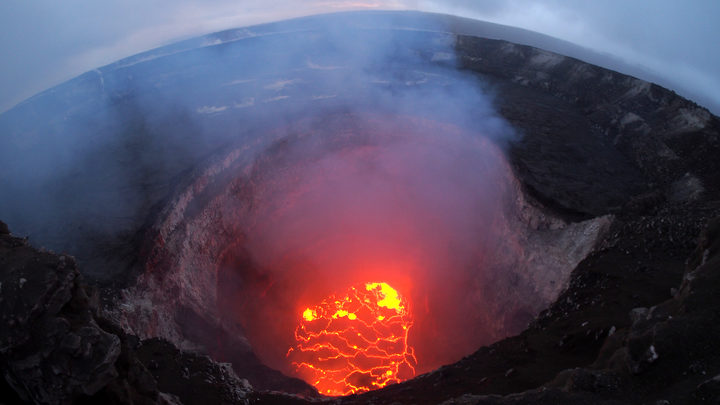 This image released by the US Geological Survey shows the Kilauea Volcano summit lava lake which has dropped significantly over the past few days.