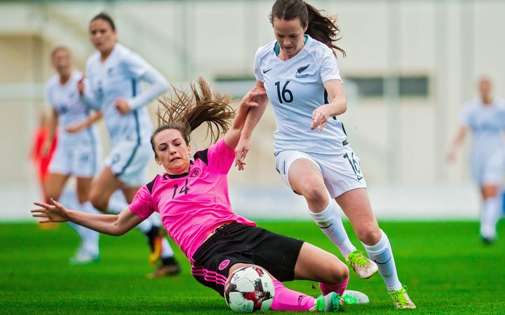 The Football Ferns against Scotland in Spain earlier this year.