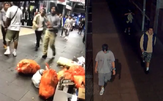 Auckland police are seeking information on these men after an unprovoked attack on Queen St.