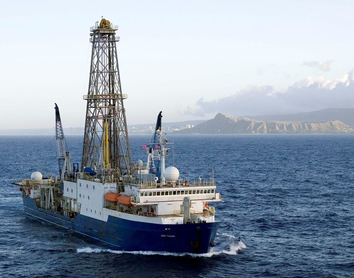 The JOIDES Resolution drilling ship carried out six two-month long research expeditions around New Zealand in 2017.