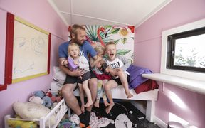 INSIGHT: Stay at home dads: Craig Smith and his children, Paige (2), Charlie (4) and Cobie (6).