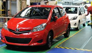 Toyota Yaris cars on the assembly line.