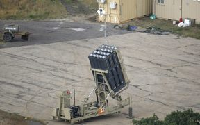 Israeli Iron Dome defence system, designed to intercept and destroy incoming short-range rockets and artillery shells, stands near the Syrian border in the Israeli-annexed Golan Heights.