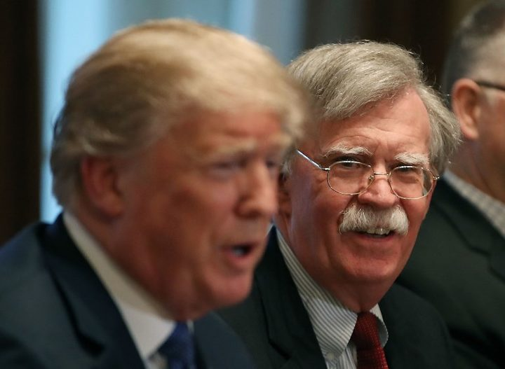 White House National Security adviser John Bolton with US President Donald Trump
