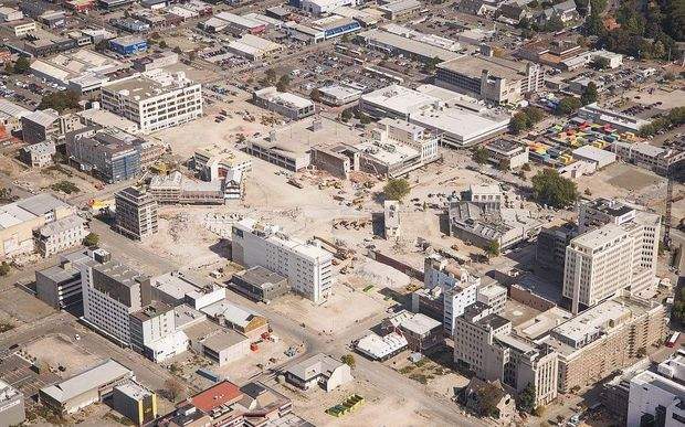 An aerial view of the central business district showing demolished sites a year ago.