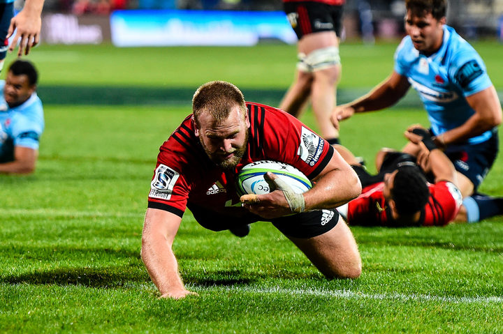 Joe Moody of the Crusaders try during the Super Rugby match, Crusaders V Waratahs, AMI Stadium, Christchurch, New Zealand, 12th May 2018