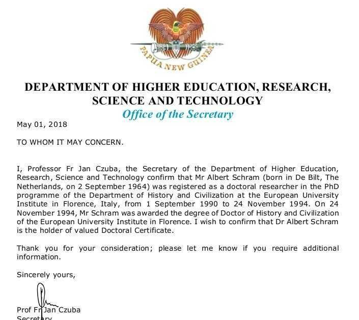 The letter from the Department of Higher Education.
