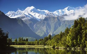 Lake Matheson, Mount Tasman and Mount Cook seen from Westland Tai Poutini National Park.