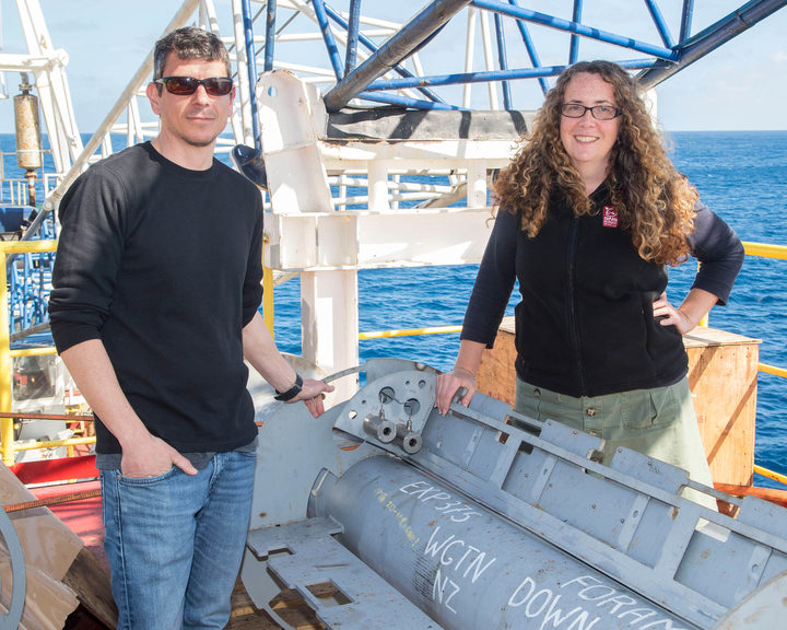 Laura Wallace and Demian Saffer on the JOIDES Resolution with one of two sub-seafloor earthquake observatories that have been placed on the Hikurangi subduction zone.