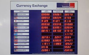 Currency Exchange Board At Auckland International Airport