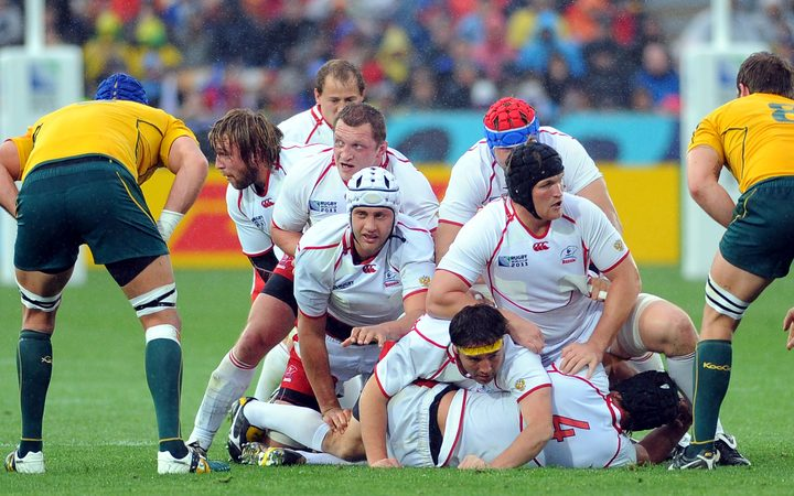 Russian players during Rugby World Cup 2011 game against Australia.