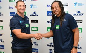 Leon MacDonald and Tana Umaga at the Blues 2019 coaching announcement