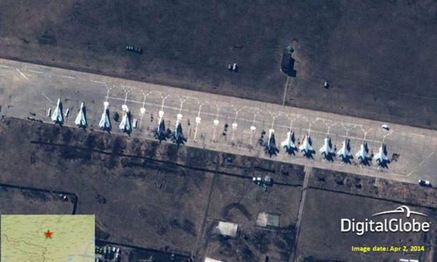 Russian fighter jets at fomerly vacant Buturlinovka Air base, 150km from the Ukainian border.