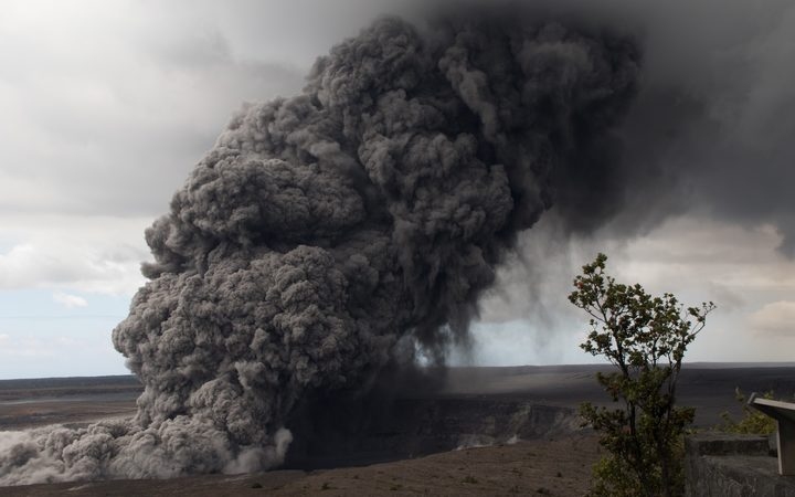 Ash plume rises  following a massive volcano eruption on Kilauea volcano in Hawaii, United States on May 17, 2018. Lava is spewing more than 60 metres into the air and spread around 36,000 square metres.