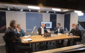 Morning Report's panel on the Budget, with presenter Guyon Espiner, centre, joined by Bernard Hickey, Sue Bradford, Scott Campbell and Fran O'Sullivan.