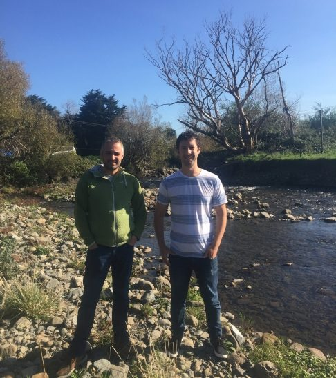 Dr Adam Canning and Dr Richard Winkworth on the banks of the Manawatu River