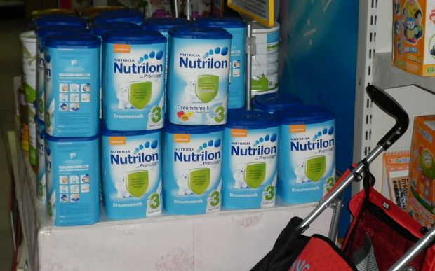 Nutricia infant milk formula on sale in Beijing. Its manufacturer Danone is suing Fonterra over loss of sales due to the botulism scare.
