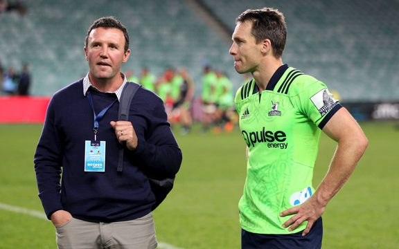 Highlanders coach Aaron Mauger and captain Ben Smith.