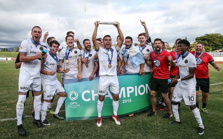 Team Wellington celebrate their first OFC Champions League title.