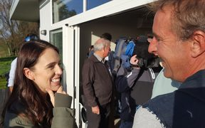 Prime Minister Jacinda Ardern speaking to farmers in Waikato.