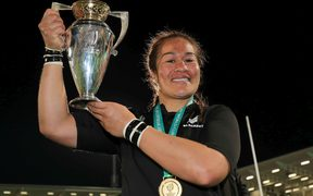 New Zealand Black Ferns captain Fiao'o Faamausili celebrates winning the 2017 Women's Rugby World Cup.