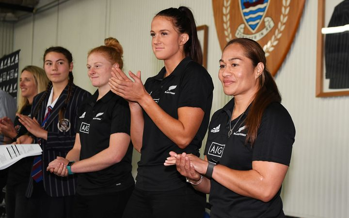 Players Grace Brooker, Charmaine Smith and Fiao'o Faamausili at the Black Ferns contract announcement