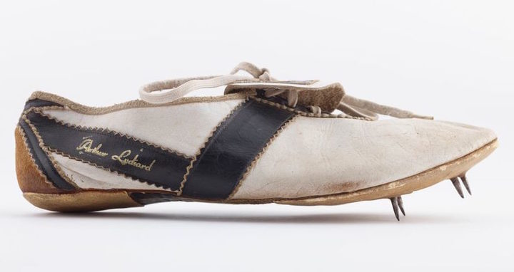 'Arthur Lydiard' spiked track shoe, 1960, New Zealand. Gift of Sir Peter Snell, 2017.