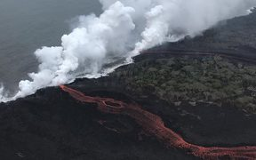 One of two points where lava is entering the ocean.
