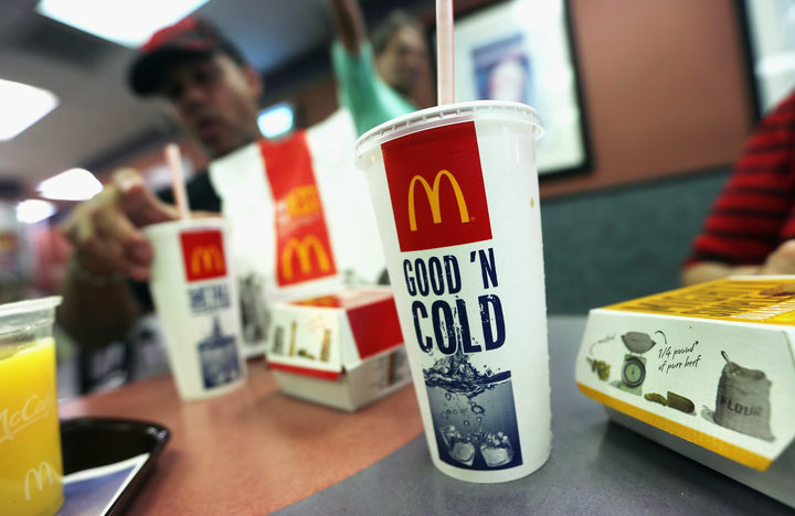 A customer eats with a 21 ounce cups of soda at a Manhattan McDonalds on September 13, 2012 in New York City.