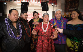 Punialava'a backstage after winning the Lifetime Achievement Award at the Pacific Music Awards.