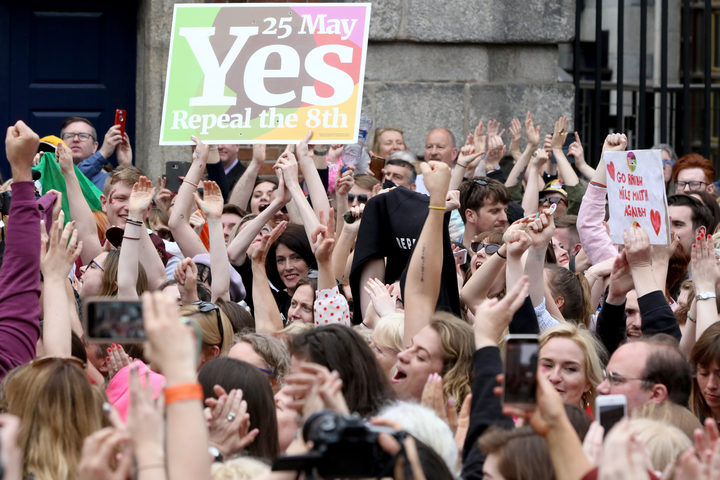 'Yes' campaigners celebrate the official result of the Irish abortion referendum at Dublin Castle in Dublin on May 26, 2018 which showed a landslide decision in favour of repealing the constitutional ban on abortions.