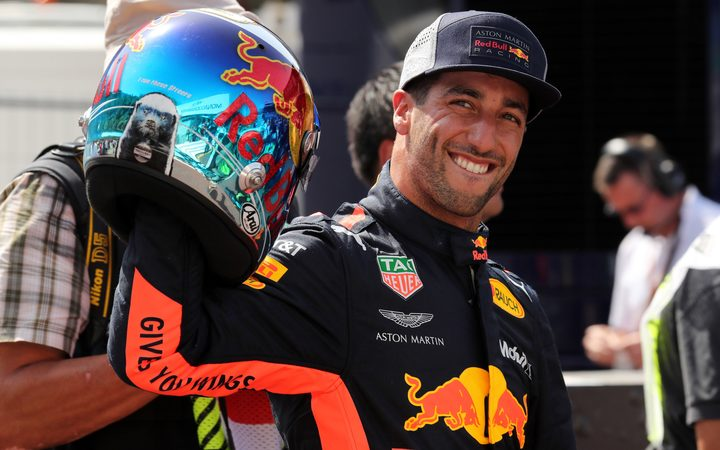 Red Bull Racing driver Daniel Ricciardo celebrates.
