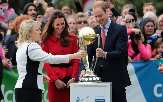 The royal couple inspected the 2015 Cricket World Cup trophy.