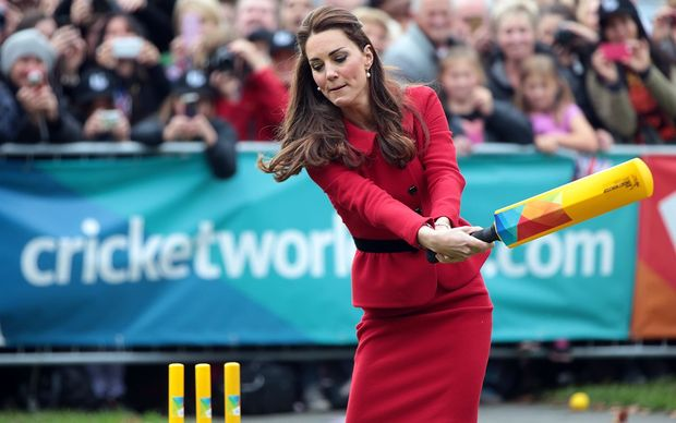 Catherine took took her turn at the crease.
