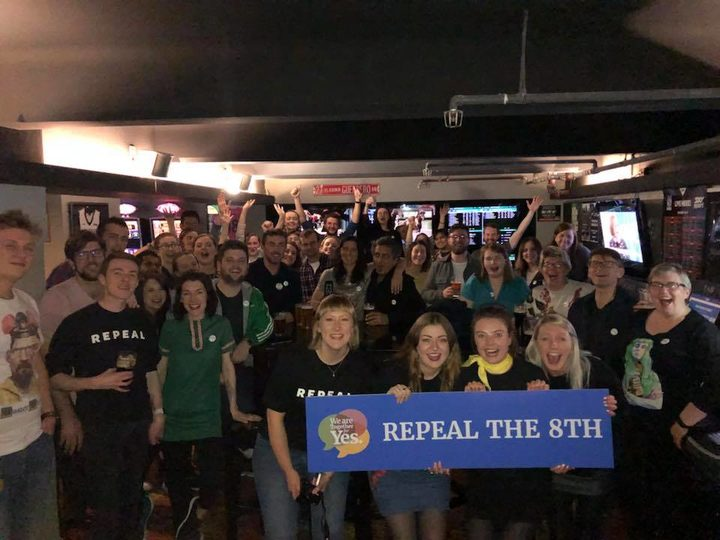 Together for Yes gathering in Wellington to watch the results of the Irish Abortion Referendum