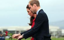 William and Catherine at Wall of Remembrance.