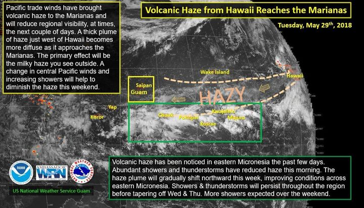 Guam And Hawaii Map.Volcanic Haze From Hawaii Reaches Cnmi And Guam Rnz News