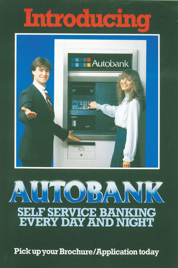 An image of Autobank, one of the first ATM's in New Zealand.