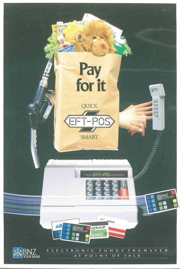 "A poster advertising EFTPOS. The caption reads ""pay for it."""